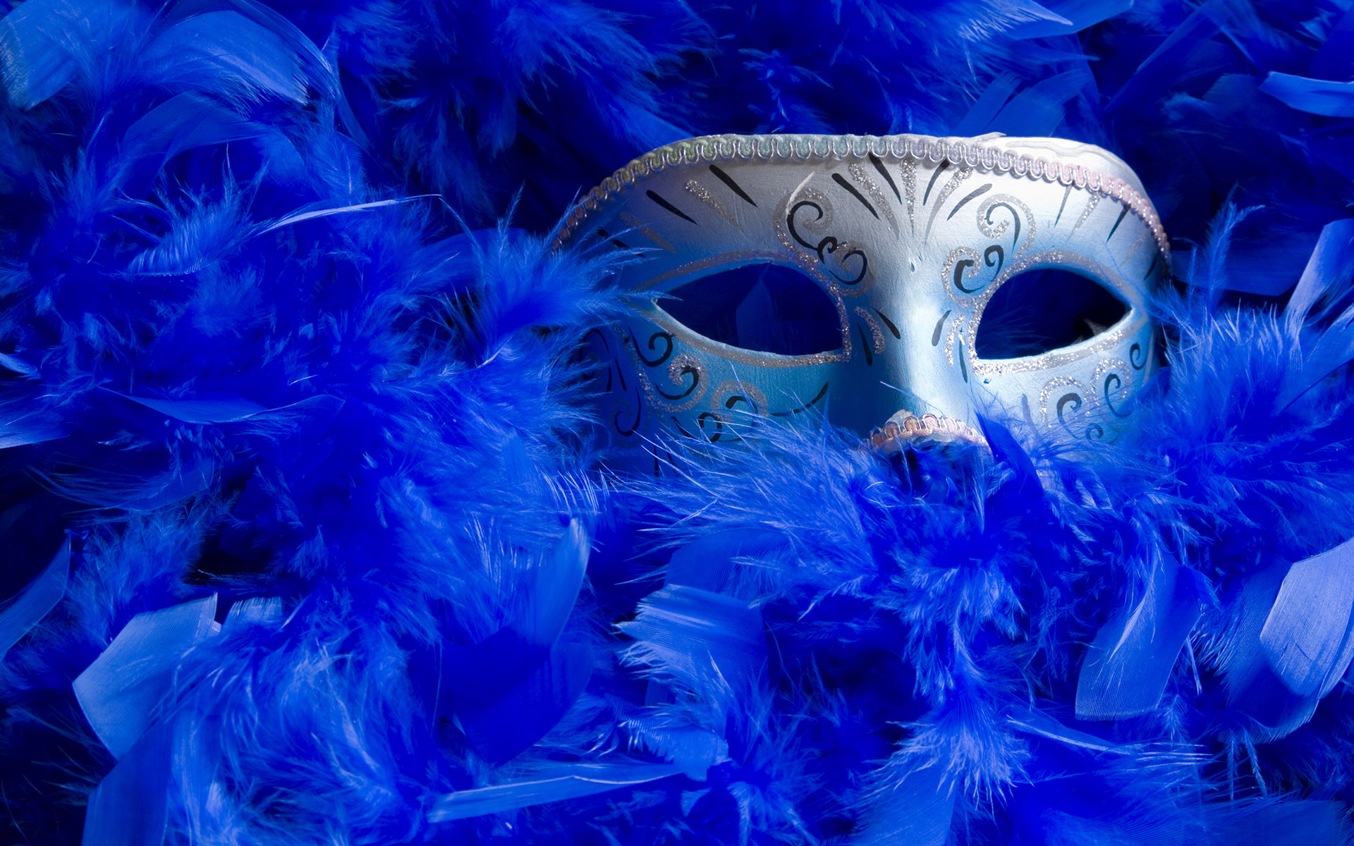 Venetian mask among bright blue feathers.